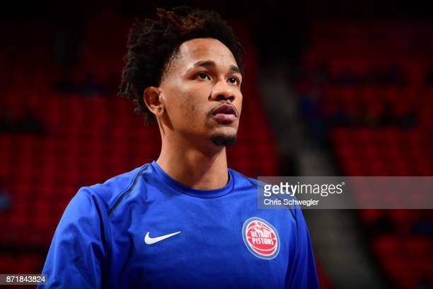 Luis Montero of the Detroit Pistons looks on during warmups before the game against the Indiana Pacers on November 8 2017 at Little Caesars Arena in...