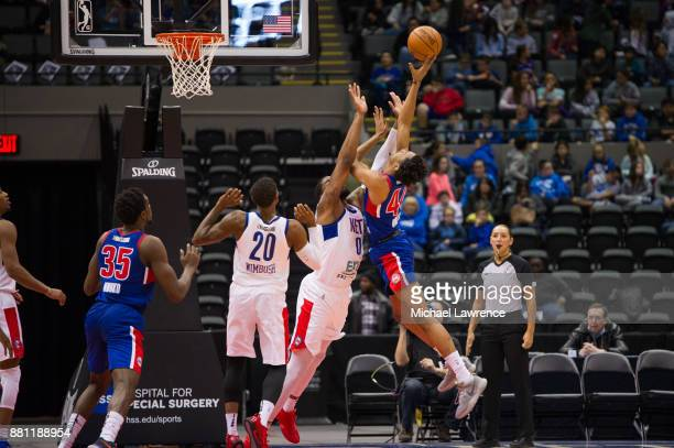 Luis Montero of the Grand Rapids Drive drives to the basket during an NBA GLeague game against the Long Island Nets on November 28 2017 at Nassau...