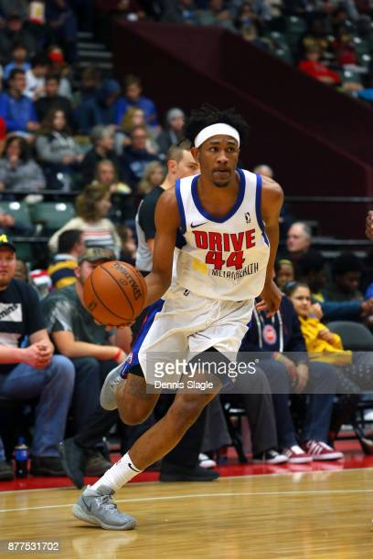 Luis Montero of the Grand Rapids Drive handles the ball against the Oklahoma City Blue at The DeltaPlex Arena for the NBA GLeague on NOVEMBER 21 2017...