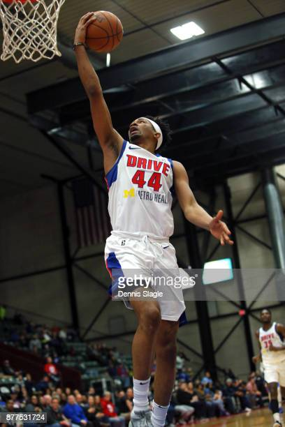 Luis Montero of the Grand Rapids Drive takes a shot against the Oklahoma City Blue at The DeltaPlex Arena for the NBA GLeague on NOVEMBER 21 2017 in...