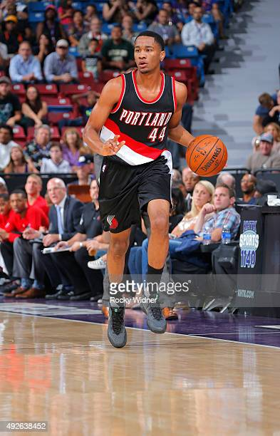 Luis Montero of the Portland Trail Blazers brings the ball up the court against the Sacramento Kings on October 10 2015 at Sleep Train Arena in...