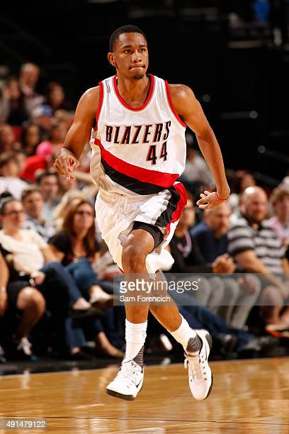 Luis Montero of the Portland Trail Blazers drives to the basket against the Sacramento Kings during the preseason game on October 5 2015 at the Moda...