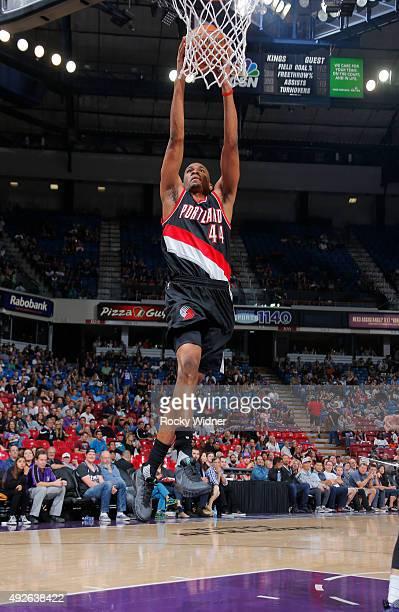 Luis Montero of the Portland Trail Blazers dunks against the Sacramento Kings on October 10 2015 at Sleep Train Arena in Sacramento California NOTE...