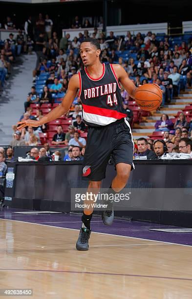 Luis Montero of the Portland Trail Blazers handles the ball against the Sacramento Kings on October 10 2015 at Sleep Train Arena in Sacramento...