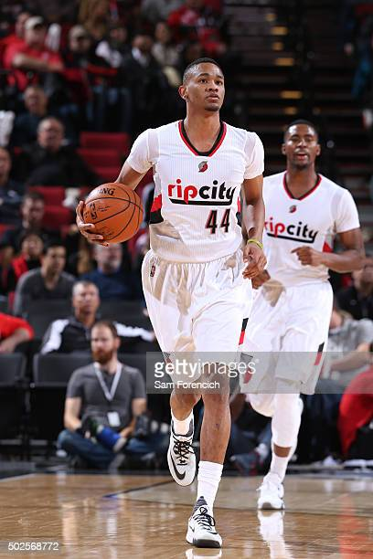 Luis Montero of the Portland Trail Blazers handles the ball against the Cleveland Cavaliers on Decmeber 26 2015 at the Moda Center in Portland Oregon...
