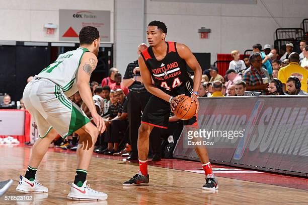 Luis Montero of the Portland Trail Blazers handles the ball against the Boston Celtics during the 2016 NBA Las Vegas Summer League game on July 15...