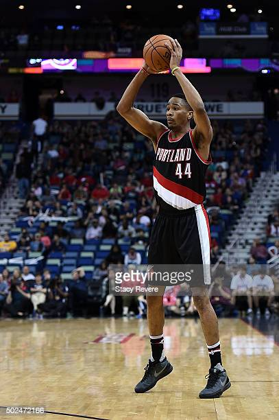 Luis Montero of the Portland Trail Blazers handles the ball during the second half of a game against the New Orleans Pelicans at the Smoothie King...