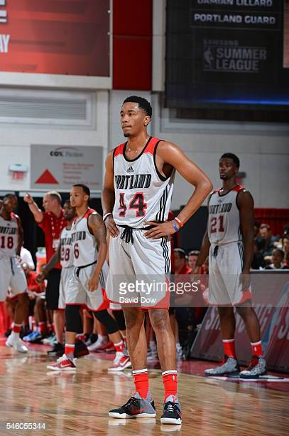 Luis Montero of the Portland Trail Blazers looks on against the San Antonio Spurs during the 2016 NBA Las Vegas Summer League game on July 10 2016 at...
