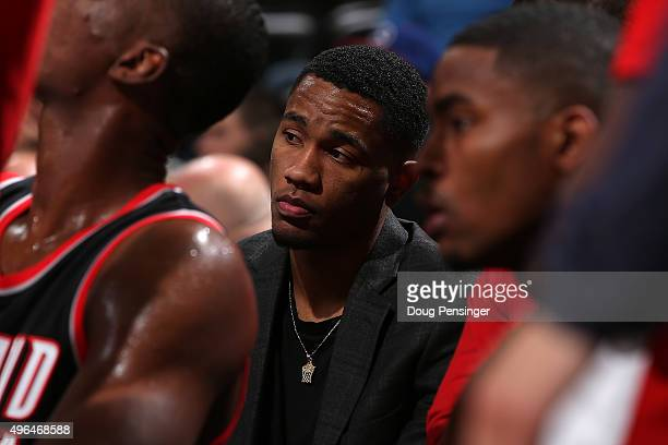 Luis Montero of the Portland Trail Blazers looks on from the bench against the Denver Nuggets at Pepsi Center on November 9 2015 in Denver Colorado...