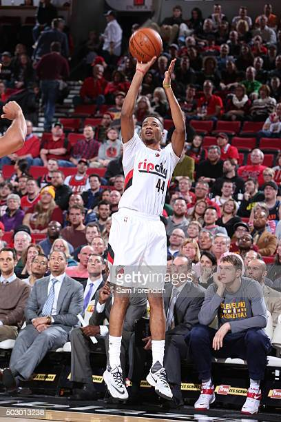 Luis Montero of the Portland Trail Blazers shoots the ball against the Cleveland Cavaliers on December 26 2015 at the Moda Center Arena in Portland...