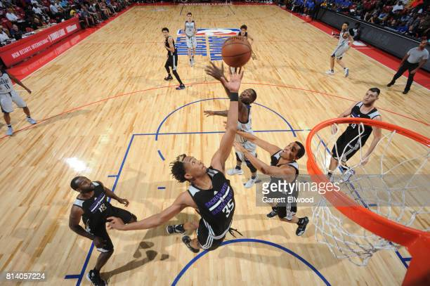Luis Montero of the Sacramento Kings goes up for a rebound against the Dallas Mavericks on July 13 2017 at the Thomas Mack Center in Las Vegas Nevada...