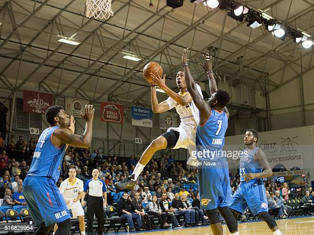 Luis Montero of the Santa Cruz Warrors drives to the basket against the Oklahoma City Blue during an NBA DLeague game on MARCH 18 2016 in SANTA CRUZ...