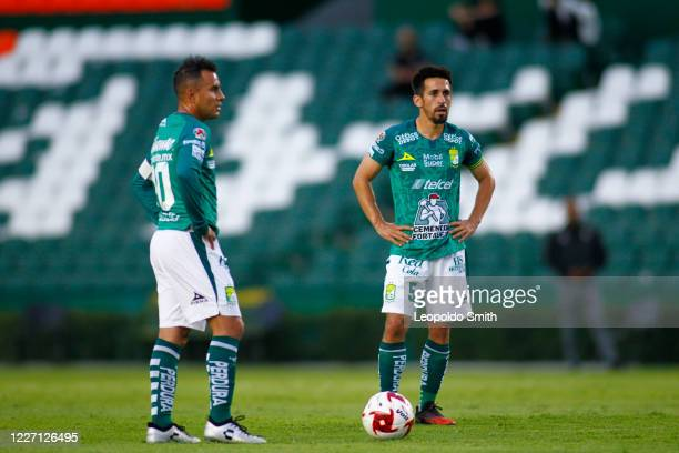 Luis Montes and Fernando Navarro of Leon look on during a match between Leon and FC Juarez as part of the friendly tournament Copa Telcel at Leon...