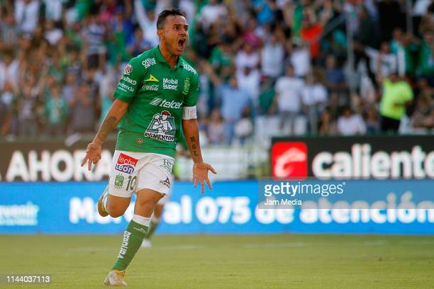 Luis Montes of Leon celebrates after scoring the fifth goal of his team during the 15th round match between Leon and Atlas as part of the Torneo...
