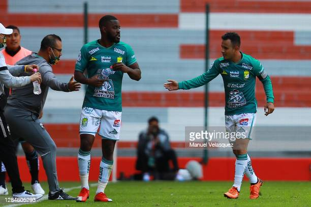 Luis Montes of Leon celebrates after scoring the second goal of his team during the 17th round match between Toluca and Leon as part of the Torneo...