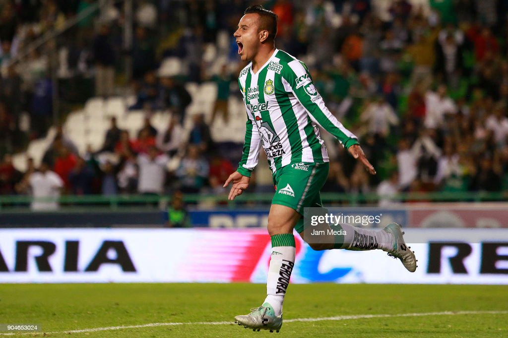 Luis Montes of Leon celebrates after scoring the second goal of his team during the second round match between Leon and Toluca as part of the Torneo Clausura 2018 Liga MX at Leon Stadium on January 13, 2018 in Leon, Mexico.