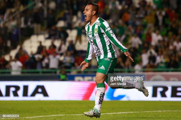 Luis Montes of Leon celebrates after scoring the second goal of his team during the second round match between Leon and Toluca as part of the Torneo...