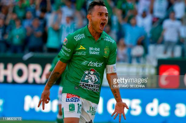 Luis Montes of Leon celebrates his goal against Atlas during a Mexican Clausura 2019 tournament football match at the Nou Camp stadium in Leon...