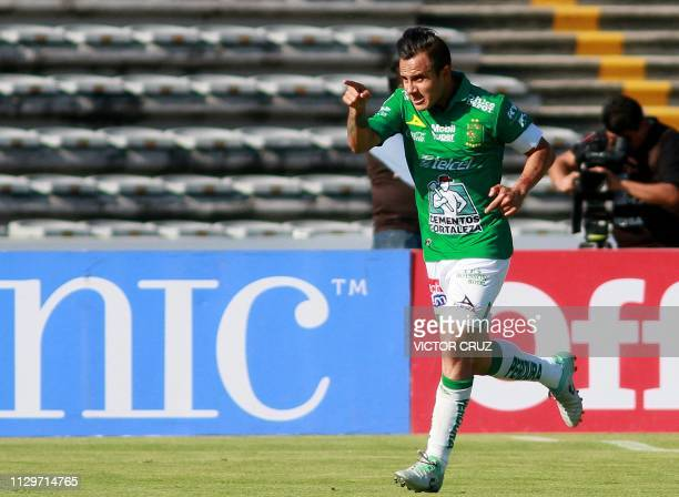 Luis Montes of Leon celebrates his goal against Lobos BUAP during their Mexican Clausura 2019 tournament football match at the Universitario Buap...