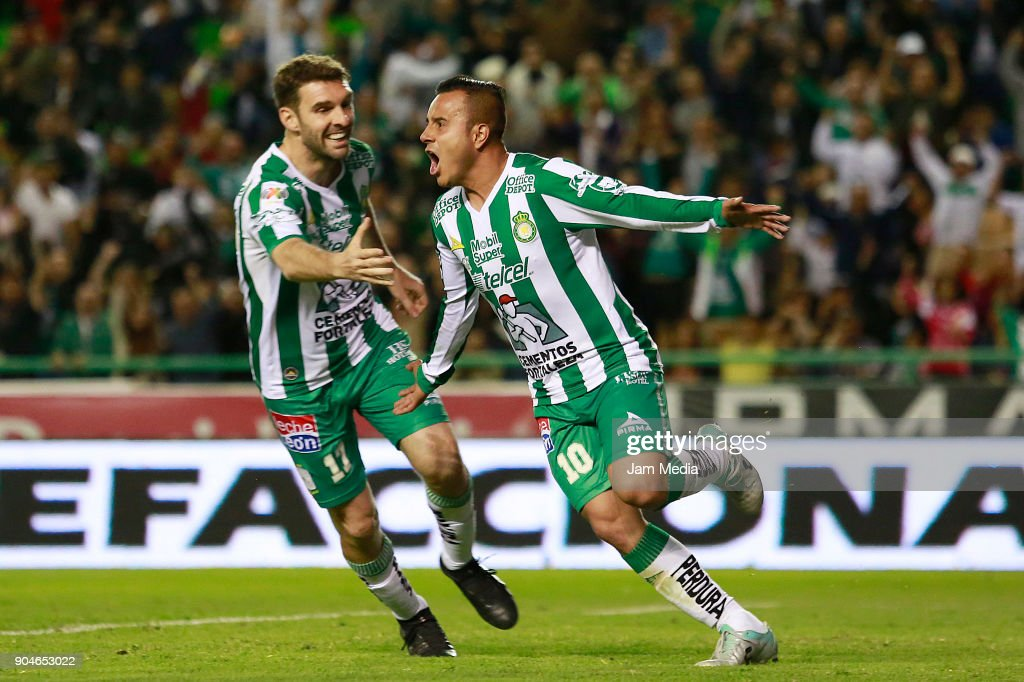 Luis Montes of Leon celebrates with teammate Mauro Boselli after scoring the second goal of his team during the second round match between Leon and Toluca as part of the Torneo Clausura 2018 Liga MX at Leon Stadium on January 13, 2018 in Leon, Mexico.
