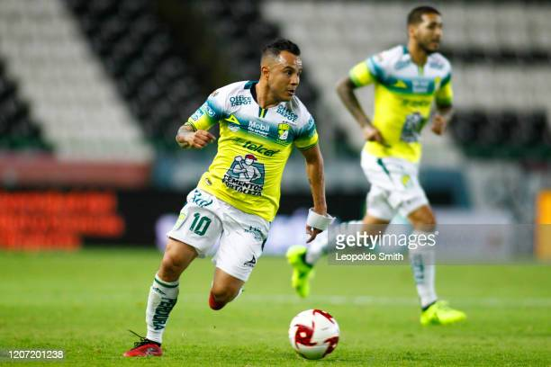 Luis Montes of Leon drives the ball during the 10th round match between Leon and Pumas UNAM as part of the Torneo Clausura 2020 Liga MX at Leon...