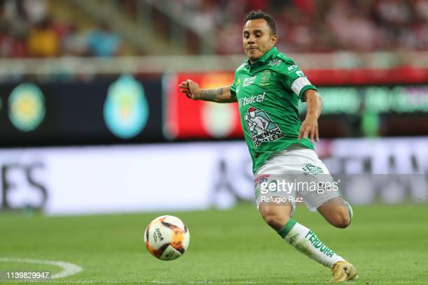 Luis Montes of Leon drives the ball during the 16th round match between Chivas and Leon as part of the Torneo Clausura 2019 Liga MX at Akron Stadium...