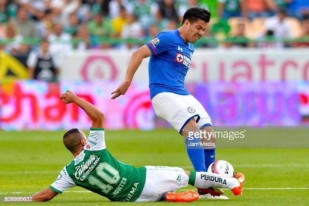 Luis Montes of Leon fights for the ball with Francisco Silva of Cruz Azul during the third round match between Leon and Cruz Azul as part of the...