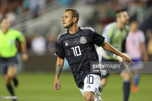 Luis Montes of Mexico celebrates 3rd goal during the friendly match between Paraguay and Mexico at Levi's Stadium on March 26 2019 in Santa Clara...