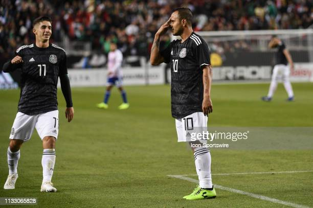 Luis Montes of Mexico celebrates alongside teammate Isaac Brizuela after scoring his side's fourth goal during the International Friendly Match...