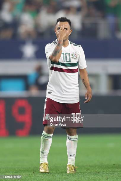 Luis Montes of Mexico celebrates during an international friendly match between Ecuador and Mexico at AT&T Stadium on June 9, 2019 in Arlington,...