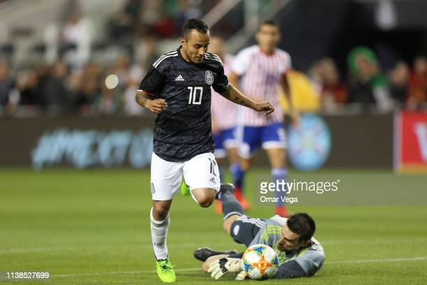 Luis Montes of Mexico scores 3rd goal during the friendly match between Paraguay and Mexico at Levi's Stadium on March 26 2019 in Santa Clara...