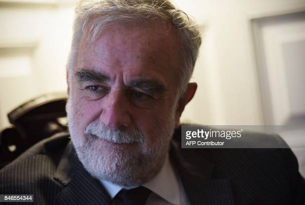 Luis Moreno Ocampo former prosecutor for the International Criminal Court speaks during an interview with AFP in Washington DC on September 13 2017...