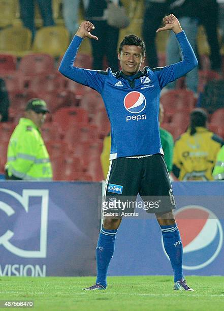 Luis Mosquera of Millonarios celebrates after scoring the fifth goal of his team during a match between Millonarios and Deportivo Pasto as part of...