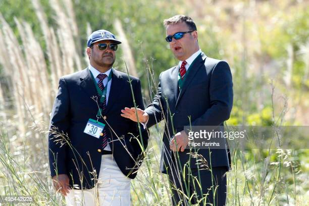 Luis Mota Carmo Head of the Policia Judiciaria in the Algarve speaks with British Detective Chief Inspector Andy Redwood during a search of an area...
