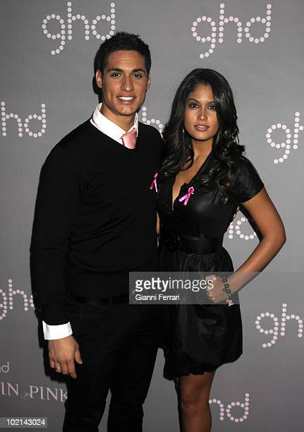 Luis Munoz Mister Spain 2007 and Patricia Rodriguez Miss Spain 2008 gives his support to the flight againstthe breast cancer held on October 19...
