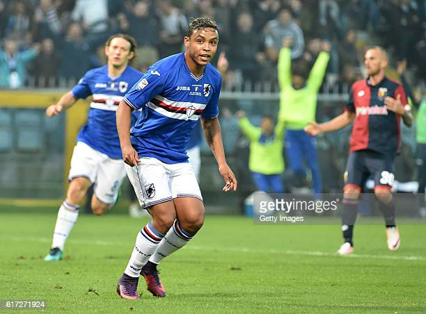 Luis Muriel celebrates after scoring 10 during the Serie A match between UC Sampdoria and Genoa CFC at Stadio Luigi Ferraris on October 22 2016 in...