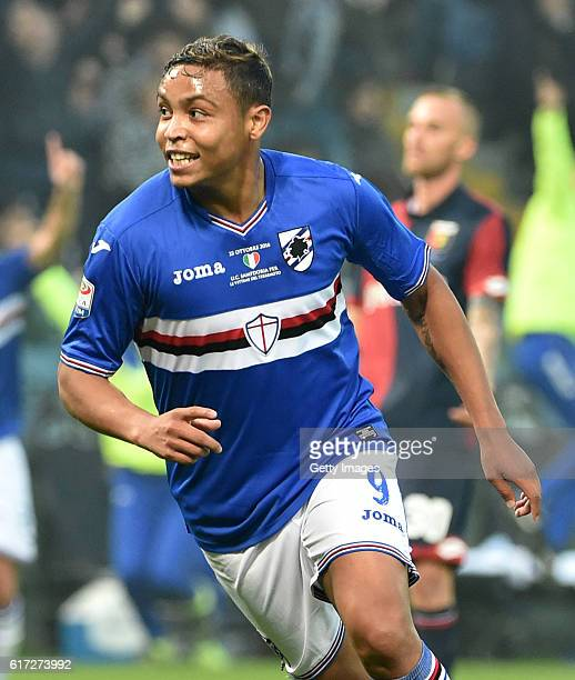 Luis Muriel celebrates for the two goals of Sampdoria during the Serie A match between UC Sampdoria and Genoa CFC at Stadio Luigi Ferraris on October...