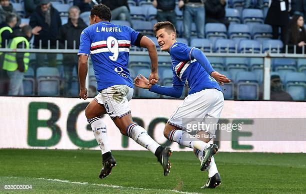 Luis Muriel celebrates with Patrik Schick after scoring goal 32 during the Serie A match between UC Sampdoria and AS Roma at Stadio Luigi Ferraris on...