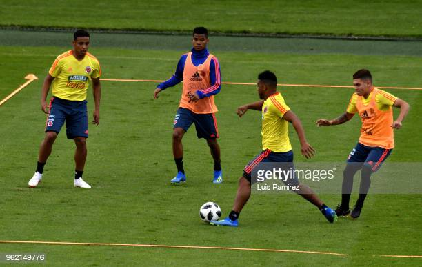 Luis Muriel Frank Fabra and Juan Fernando Quintero during a training session as part of the preparation to the FIFA World Cup Russia 2018 at Estadio...