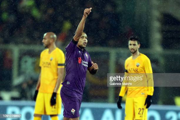Luis Muriel of ACF Fiorentina celebrates after scoring a goal during the Coppa Italia match between ACF Fiorentina and AS Roma at Stadio Artemio...