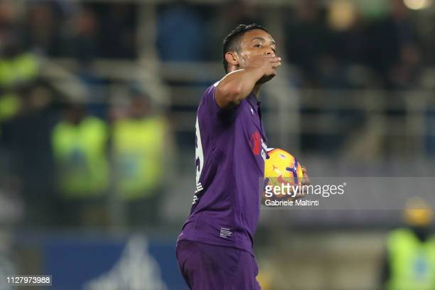Luis Muriel of ACF Fiorentina celebrates after scoring a goal during the Coppa Italia match between ACF Fiorentina and Atalanta BC on February 27...