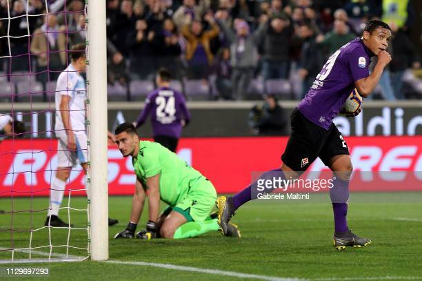 Luis Muriel of ACF Fiorentina celebrates after scoring a goal during the Serie A match between ACF Fiorentina and SS Lazio at Stadio Artemio Franchi...