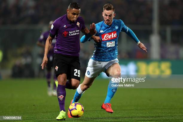 Luis Muriel of ACF Fiorentina competes for the ball against Fabian Ruiz of SSC Napoli during the Serie A match between ACF Fiorentina and SSC Napoli...