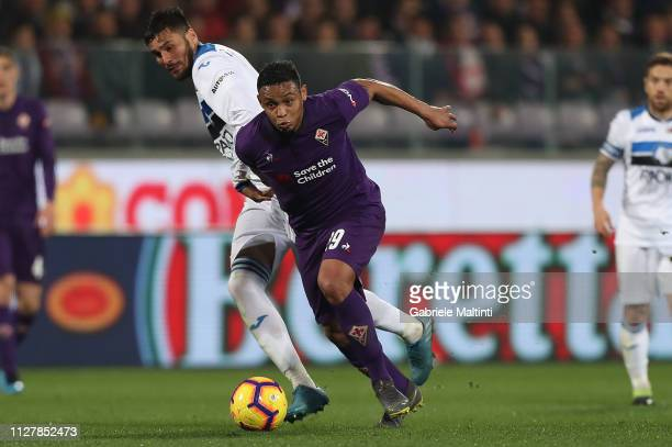 Luis Muriel of ACF Fiorentina in action during the Coppa Italia match between ACF Fiorentina and Atalanta BC on February 27 2019 in Florence Italy