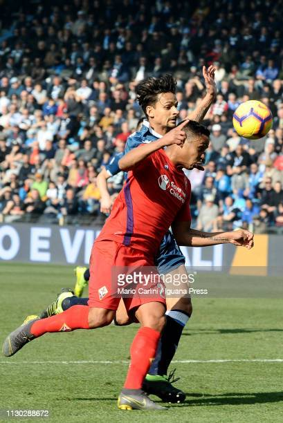 Luis Muriel of ACF Fiorentina in action during the Serie A match between SPAL and ACF Fiorentina at Stadio Paolo Mazza on February 17 2019 in Ferrara...