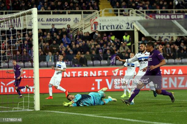 Luis Muriel of ACF Fiorentina scores a goal during the Coppa Italia match between ACF Fiorentina and Atalanta BC on February 27 2019 in Florence Italy