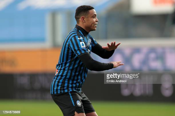 Luis Muriel of Atalanta B.C. Celebrates after he scores his sides first goal during the Serie A match between Atalanta BC and Parma Calcio at Gewiss...