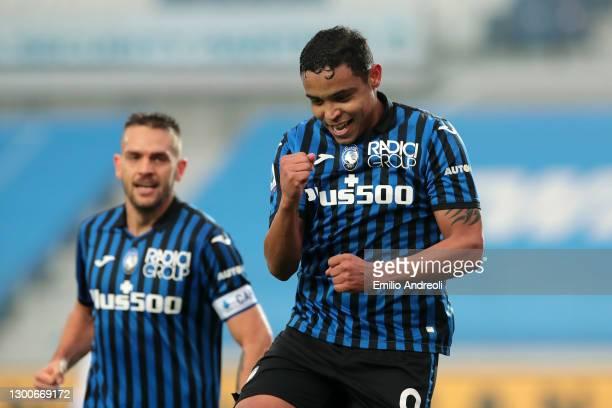 Luis Muriel of Atalanta B.C. Celebrates after scoring his team's third goal during the Serie A match between Atalanta BC and Torino FC at Gewiss...