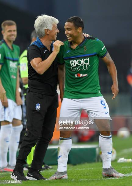 Luis Muriel of Atalanta BC celebrates after scoring the 13 goal during the Serie A match between Udinese Calcio and Atalanta BC at Stadio Friuli on...