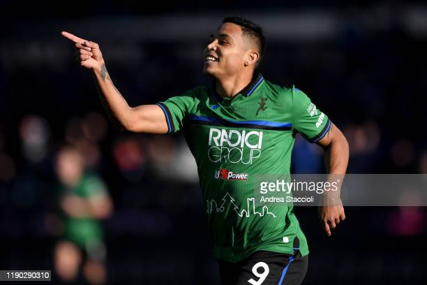 Luis Muriel of Atalanta BC celebrates after scoring the goal of 50 during the Serie A football match between Atalanta BC and AC Milan Atalanta BC won...